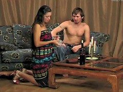 Cruel spanking of the cottage hostess
