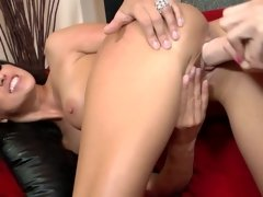 Two girls lick one another and they also lick their sex toys