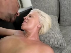 Blonde-haired granny comes to her neighbor for hard fucking
