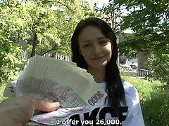 素人, 茶髪の, チェコ, ヨーロピアン, お金, 公共, オマンコ, 馬乗り