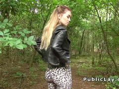 Sexy blonde Brit bangs in woods pov