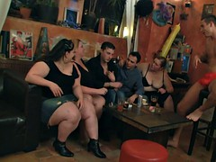 Big tits group striping and sucking