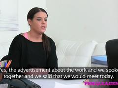 Female Agent Shy beauty seduced and fucked by busty agent
