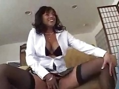 Mom i`d like to fuck in black stocking gets her holes stuffed