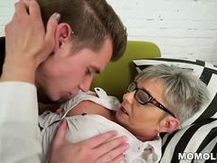 Lusty granny vs young big cock