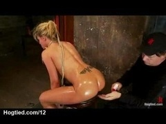 Bigtitted restrained blonde clitoris vibed and moreover butt caned
