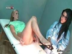 Horny doctor handballing her blonde female part3