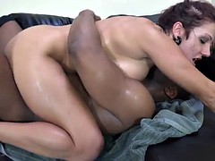affectionate tattooed babes with big tits getting tit fuck in interracial sex