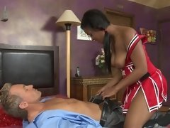 Wild ebony chick riding her white partner with so much passion