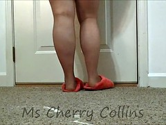 Play in Magenta Fuzzy Slippers  & Soft Brown Pantyhose