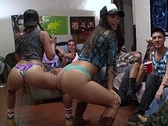 First-class college girls striping and besides giving bj