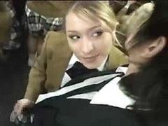 Schoolgirl Handjob On Bus