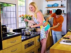 Jordi's stirring the gravy while his girl tries to stir the dinner