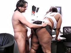 Busty ebony secretary rides her boss's cock