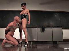 shemale teacher fucking an student's ass against her desk