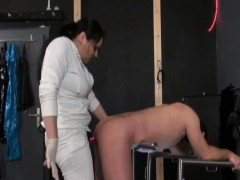 German Mistress Pegs Guy with Red Strapon