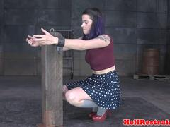 Restrained babe tormented and humiliated