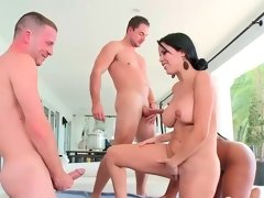 Diamond Kitty and Cherie Magic having fourway with two lads