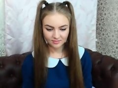 Young sweetheart in pigtails takes off her blue dress to sh