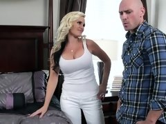Hot blonde with large boobs and ass is getting rammed by a big pecker