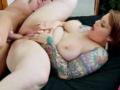 Big Tattooed Girl Takes Cock