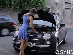 Teen with car troubles picked up by old gent and fucked