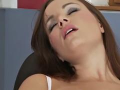 redhead secretary rubbing her clit