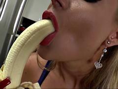 phoenix marie teases as she deepthroats a banana