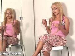 Blonde kitten loves giving blowjob large cum cannon very