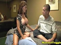 Busty stepmom Leena Sky jerking on cock