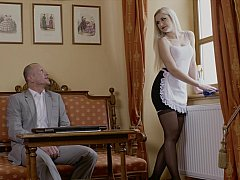 Chambre à dormir, Blonde, Doigter, Hôtel, Embrassement, Lingerie, Domestique, Chatte
