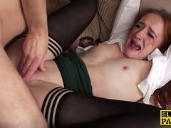 Ginger brit sub slut dominated in stockings