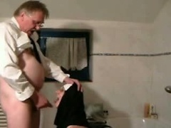 Aged man having a nun fantasy at a hotel
