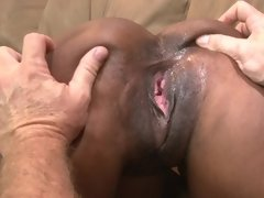 Old white dude has a big cock to satisfy her young black pussy