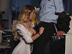 Natalia having clothed sex with security guard