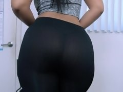Brunette came to work in tight black leggings and turned on her boss