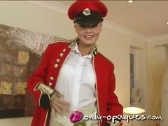 Superb Blonde Uniform and also Stockings Strip