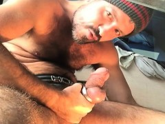 Pornstar and hunk cum together with masturbation