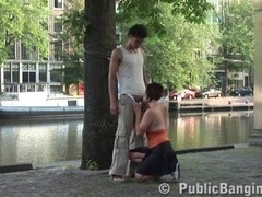 A kitten gives public blowjob in public on the street give head of a stranger give a blowjob by a well-recognized canal Extremely Fine