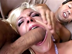 blonde slut gets her mouth, pussy and fuck