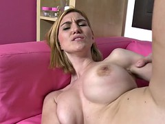 beautiful busty mom gets cum on face