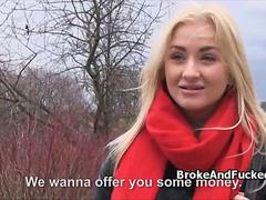 Fucking pretty blond amateur in forest