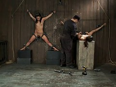 girls fixed to the wall in bdsm scene