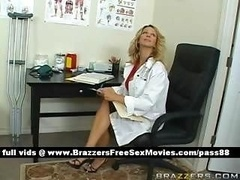 Boobalicious blonde doctor in her office