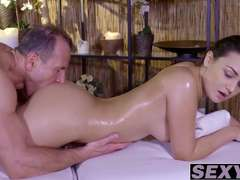 Brunette Anina pussy pounded and jizzed