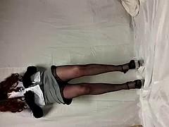 crossdresser strips to show sexy underwear