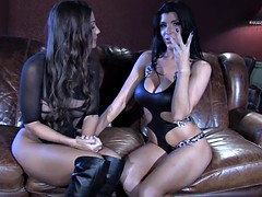 Two Vulgar Babes In Action On Sofa