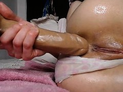 Big dildo anal masturbation blonde webcam
