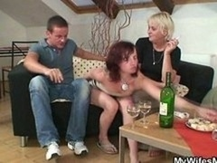 Home party with her aroused mom