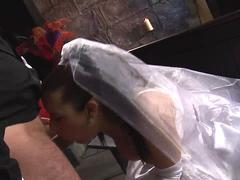 Crying bride gets hard bang by a horny stud